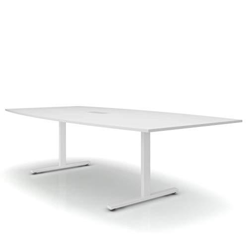 Weber Büro Easy Konferenztisch Bootsform 240x120 cm Weiß mit Elektrifizierung Besprechungstisch Tisch, Gestellfarbe:Weiß