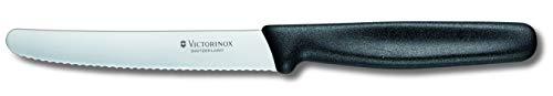 Victorinox Tomaten- Tafelmesser mit Wellenschliff (11cm Klinge, Multifunktional, Spülmaschinengeeignet) schwarz
