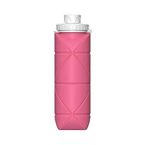 Wilitto, borraccia pieghevole da 600 ml, resistente al calore, pieghevole, senza BPC, per viaggi, fitness, trekking, borraccia in silicone, portatile, a prova di perdite, con moschettone rosa
