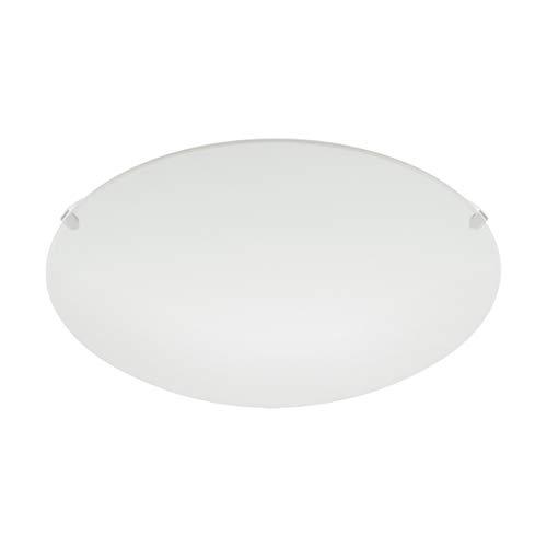 Lámpara de techo EGLO MARS, aplique de pared con 1 bombilla, lámpara de techo de acero, color: blanco, vidrio: blanco satinado, casquillo: E27