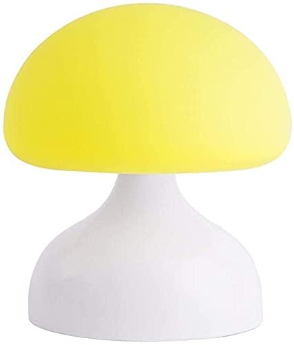 CMMT Lámpara de escritorio lindo simple lámpara de mesa lámpara de mesa niños seta LED noche luz silicona gancho portátil noche salón decoración regalo amarillo