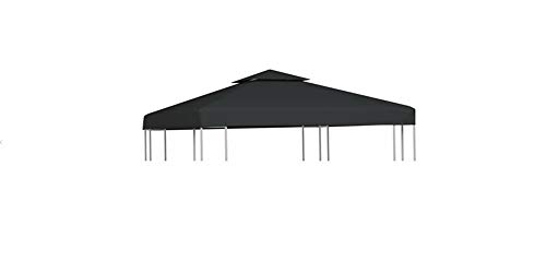 Gazebo Replacement Cover, 2-Tier Waterproof Sun-Proof Replacement Roof for Garden Gazebo PVC Coated Gazebo Top Cover 310 g/m² 3x3 m Dark Grey