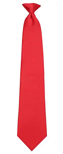 Mens XL Extra Long Tall Man Solid Color Clip On Easy to Remove Clip Necktie Ties