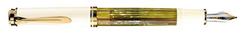 Pelikan 935528 Souverän M 400 - Pluma estilográfica de émbolo (bicolor, oro 14-K/585, carey), color blanco, ancho del plumín: M