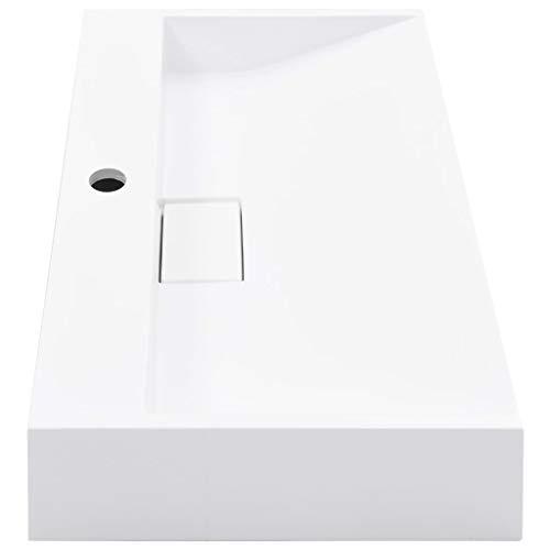 Tidyard Waschbecken/Aufsatzbecken Mit Wasserhahnloch | modernes Design | weißer Waschtisch aus Mineralguss/Marmorguss | hochwertiger Möbelwaschtisch