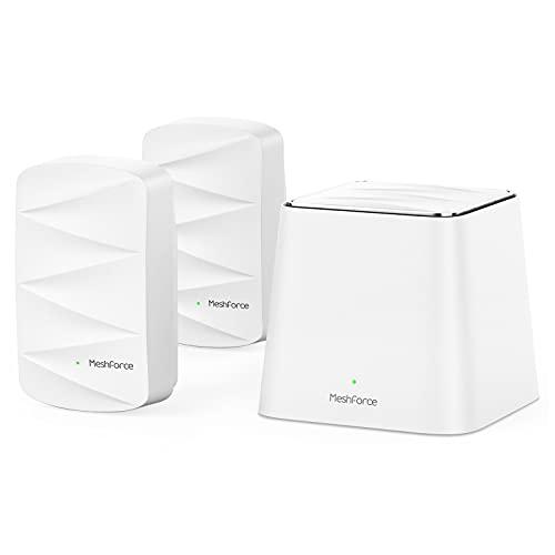 Meshforce M3 Mesh WLAN System, Mesh-Router für Drahtloses Internet, Abdeckung des gesamten Hauses bis zu 370 ㎡(6+Zimmer), WiFi-Router-Ersatz, Kindersicherung, Plug-in-Entwurf (1 WLAN Point & 2 Dots)
