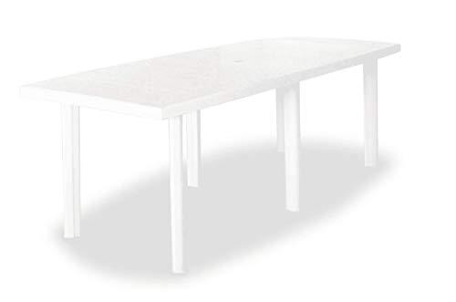 Tomaino Tavolo da Giardino allungabile in plastica con Foro per ombrellone (Bianco)