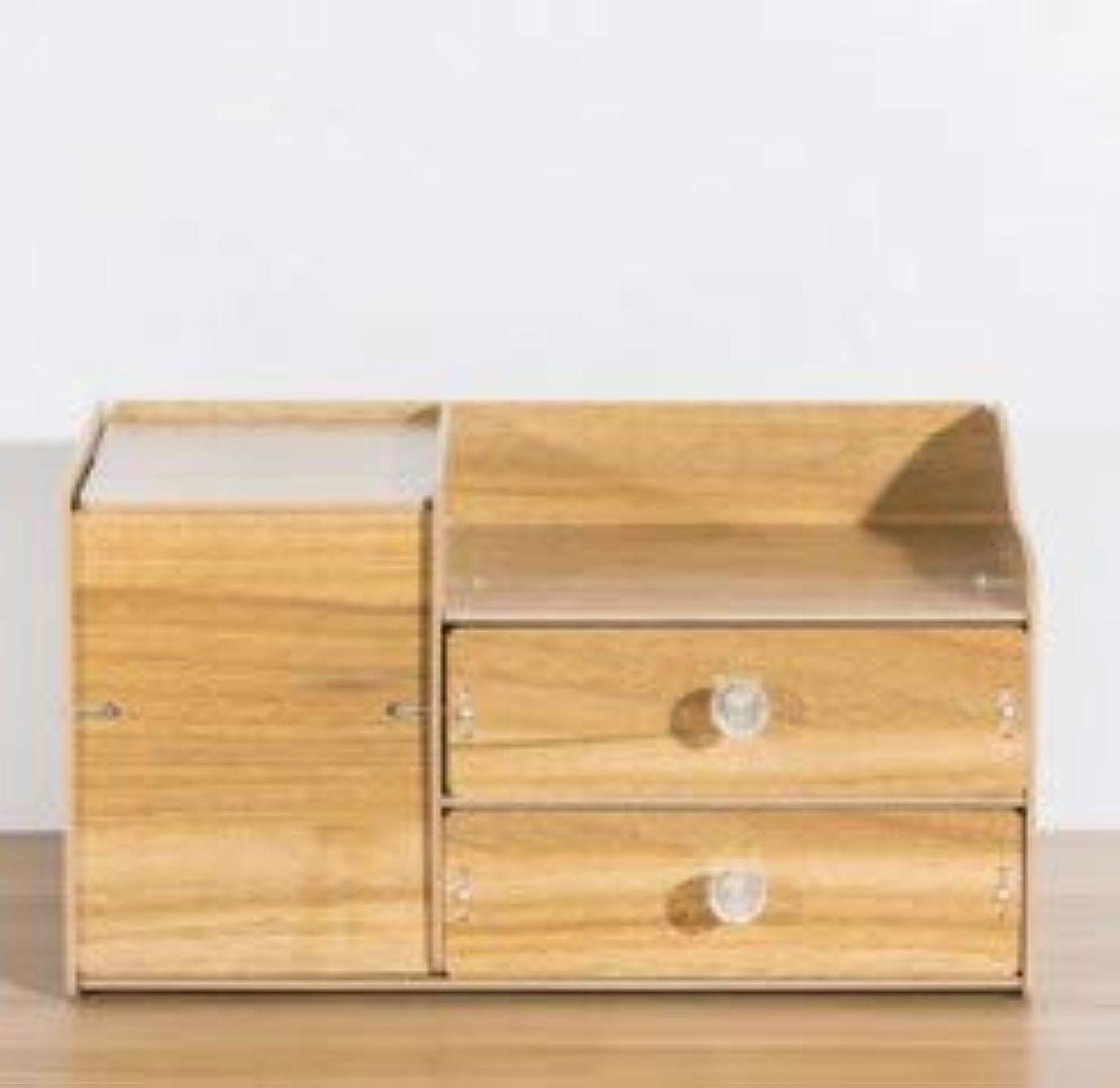 場合乳白色問い合わせふたおよび引出しの収納箱が付いている木の化粧品の収納箱収納箱およびミラーが付いているデスクトップの収納箱 (Material : Walnut)