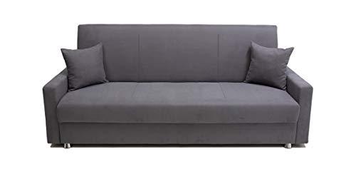 Alfa Sofa Divano Due posti con meccanismo a clic clac (Apertura a Libro) e vano Contenitore Rodi, 215x72x93cm (LxPxA) (Tessuto 01 - Colore 13)