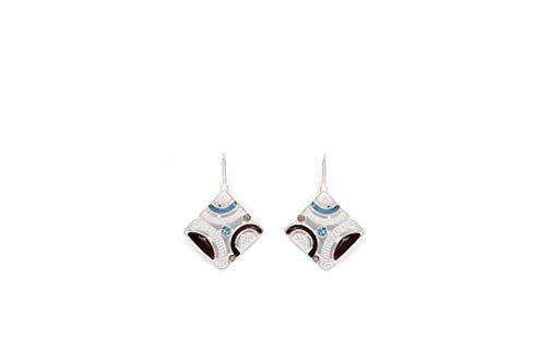 Perlkönig   Damen Frauen   Ohrringe Set   Ear Cuffs   Silber Blau Schwarz Farben   Quadrat förmig   Boho  Nickelabgabefrei