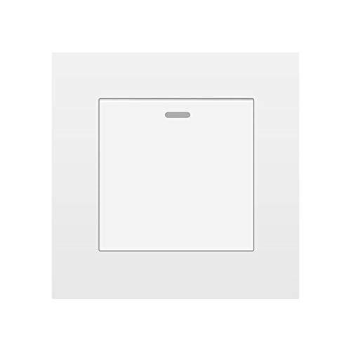 Interruptor De LáMpara De Pared, Panel De Pc Retardante De Llama De 1 1/2 VíAs 16a 250v Blanco/Negro/Dorado/Gris/Plateado 86mm * 86mm Interruptor Basculante-Blanco_1gang 2way