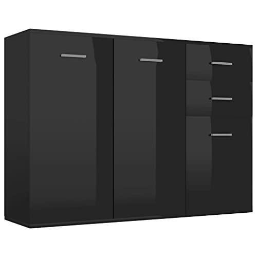 vidaXL Aparador de Almacenaje Almacenamiento Auxiliar Cajonera Organizador para Hogar Mueble Servicio Buffet Aglomerado Negro con Brillo 105x30x75 cm