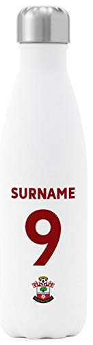 Personalised Southampton FC Back Of Shirt Insulated Water Bottle - White