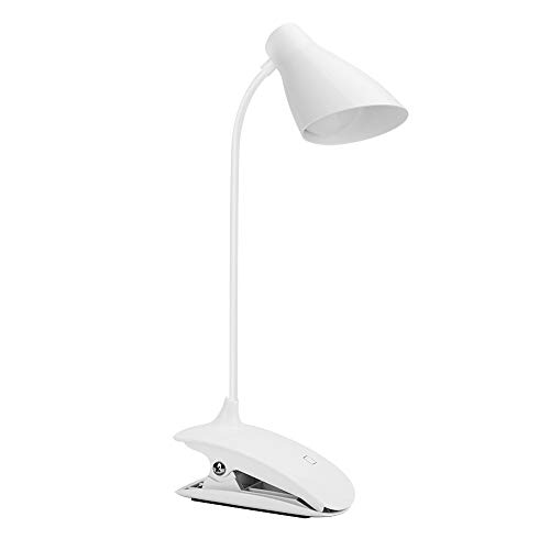 IHACON Clip en la luz de Lectura, Brillo de 3 dimmables, con Cuello Flexible, lámpara de Lectura Recargable USB, luz de Control de Control táctil