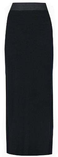Neu Damen Übergröße Stretch Jersey Gypsy Boho Langes Maxi Kleid Rock Übergröße UK 8-26 - Schwarz, Damen, 36