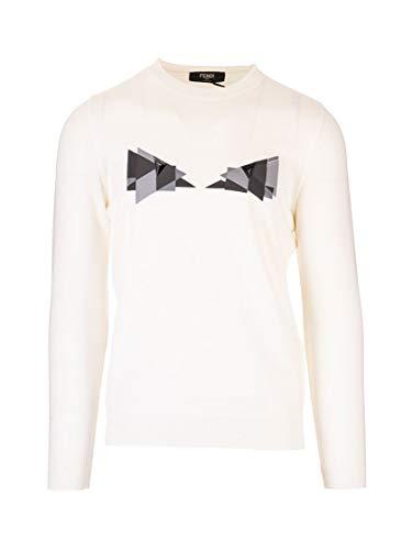 Luxury Fashion | Fendi Heren FAE537AAY3F0ZNM Wit Polyester Truien | Lente-zomer 20