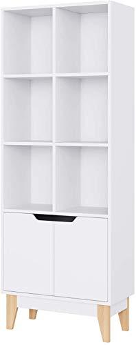 Homfa Bücherregal, Regal mit 6 Fächern und 2 Türen, Bücherschrank Raumteiler Standregal Schrank Hochregal 60 × 30 × 162 cm weiß