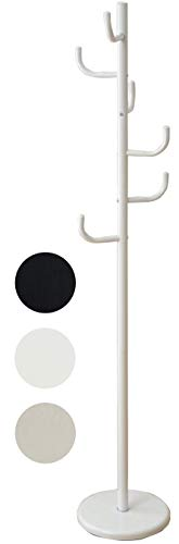 [山善] ハンガーラック 衣類収納 幅29×奥行29×高さ167cm コートハンガー 落ちにくいフック 倒れにくい土台 組立品 ホワイト NPH-165(WH)