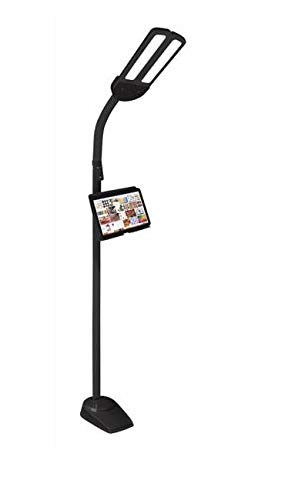 OttLite Dual Shade LED Floor Lamp with 2.1A USB Charging Port, Adjustable Stand