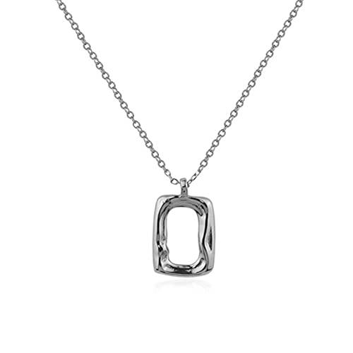 HCMA Collar Rectangular Hueco de Plata de Ley 925 para Mujer, Collares con Colgante de Cadena de clavícula geométrica Irregular