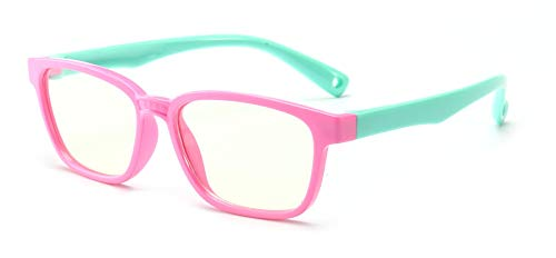 FOURCHEN Optics Lunette Anti Lumiere Bleue pour enfant - Lunettes Gaming PC Mobile TV - Filtre Anti Fatigue Anti UV Anti Lumière Bleue (Pink-green)