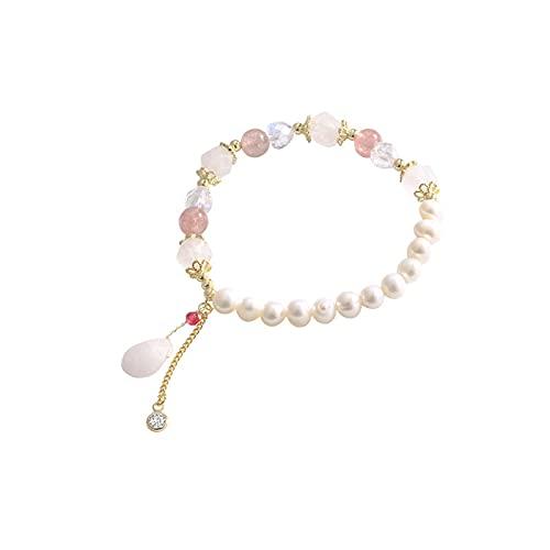 Diseño de nicho de pulsera de perlas, dulce, flor de durazno, cristal de fresa, pulsera, joyería de mano, oro