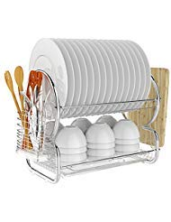 Dish Drying Rack,BATHWA 2 Tier Stainless Steel Dish Rack with Utensil Holder, Cutting Board Holder and Dish Drainer for Kitchen Counter Top, Plated Chrome Dish Dryer Silver Dryer Tray Holder Organizer