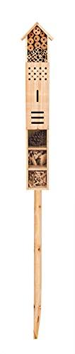 XXL Insektenhotel mit Erdspieß - Bienenhotel wetterfest auf Stelzen - Natürliche Nisthilfe für Insekten, Bienen & Schmetterlinge - 160x11x8 cm - Insektenhaus