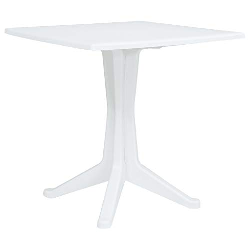 "irene inevent Plastic Square Garden Table White Weather-Resistant Terrace Patio Dining Table Outdoor Backyard Desk 27.6""x27.6""x28.2"" Furniture Garden Table"
