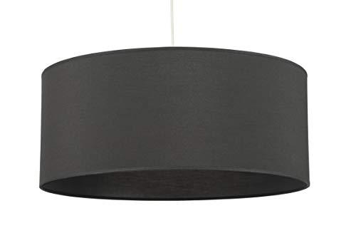 Abat-jour du Haut Bugey, Suspension ou à poser sur lampe de table ou Lampadaire, Tissu coloris gris anthracite collé sur PVC transparent