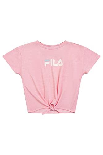Fila Heritage Girls Short Sleeve Shirt Logo T-Shirt Kids Clothes (Coral Blush-Front Tie, Large)