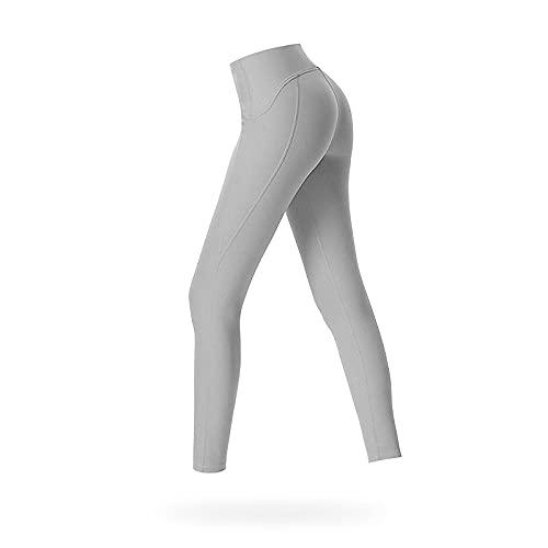 QQLL 2021 Pantalones de Yoga para Mujer Nude Feeling Medias de Lijado Caderas Cintura Alta Correr Deportes Estiramiento Pantalones de Fitness de Nueve Puntos Transpirable-Grey_S