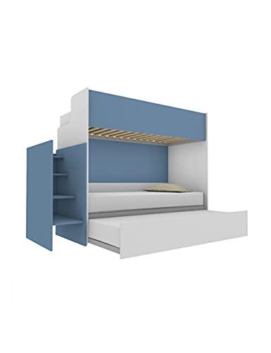 Woody - Litera funcional de diseño, con tercera cama extraíble y elevable, 80 x 190 cm, escalera de contención incluida, color blanco y avión marino