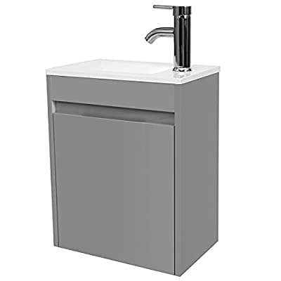 """eclife Bathroom Vanity W/Sink Combo, 16"""" for Small Space MDF Paint Modern Design Wall Mounted Cabinet Set"""