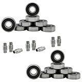 Hockey Bearings ABEC 9, 7, 5 Inline Roller Speed Package 16 Bearings and 8 Spacers Kit (ABEC 5 - Black)