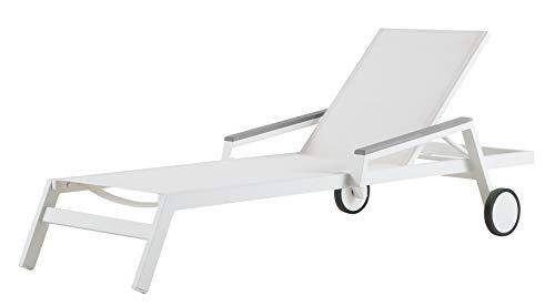 SYD Tumbona Inca de Aluminio 1ª Calidad y Textilen Batyline Blanco. con Ruedas. 200x80x45,5cm (LargoXAnchoXAlto)