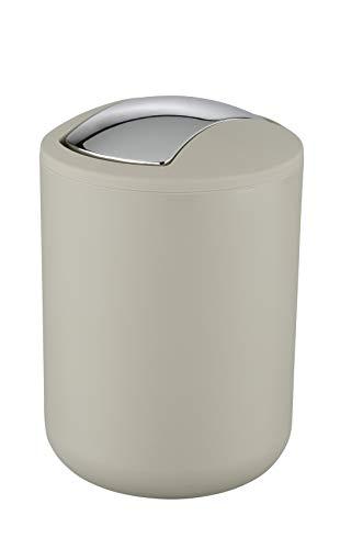 WENKO Cubo con tapa oscilante Brasil S taupe - a prueba de rotura Capacidad: 2 l, Plástico (TPE), 14 x 21 x 14 cm, Taupe
