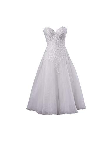 La_Marie Braut Weiss Glamour Midi Brautkleider Hochzeitskleider Standesamt Brautmode Brautkleider Kurz Silberhochzeit kleider-42 Weiss
