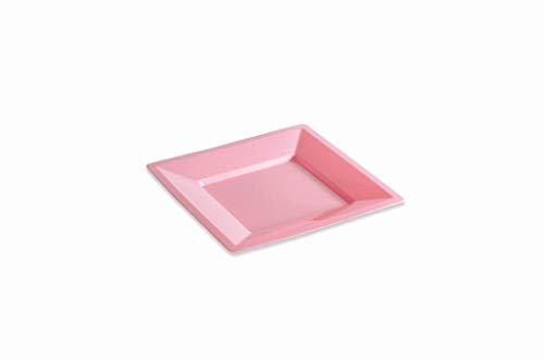 12 Assiettes carrées 18 cm Rose Pastel réutilisables