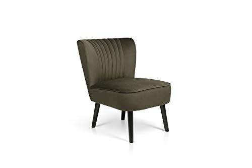 LIFA LIVING Vintage Fauteuil, Fluweel en Houten Lounge stoel, Groen en Zwarte Woonkamerstoel, Moderne Stoel voor Woonkamer, Slaapkamer, Eetkamer, 58 x 70 x 72 cm