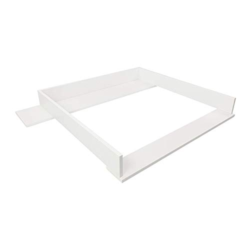 Puckdaddy Wickelaufsatz Marius – 108x80x10 cm, Wickelauflage aus Holz in Weiß mit Blende, hochwertiger Wickeltischaufsatz passend für IKEA Hemnes Kommoden