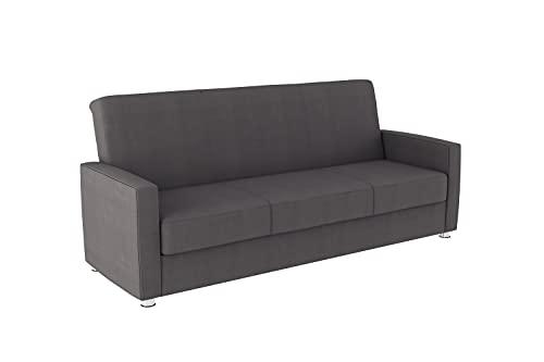Alfa Sofa Divano Tre posti con meccanismo a clic clac (Apertura a Libro) e vano Contenitore Rodi, 215x72x93cm (LxPxA) (Tessuto 01 - Colore 13 - Grigio)