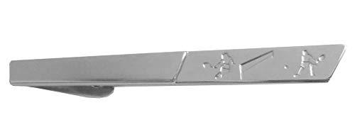 Unbekannt Tennis Krawattenklammern Krawattennadeln Spieler Tennisspiel silbern matt glänzend ca. 7 cm lang + Silberbox