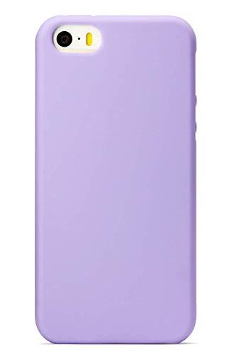Alsoar Hülle ersatz für iPhone SE Hülle,Original Handyhülle Matte Weich Liquid Silicone Schutzhülle Bumper Case Schutz vor Stoßfest/Scratch Dünn Cover mit Schutz für iPhone 5/5S/ SE (Lila-2)
