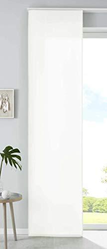 1er Set Schiebegardine Flächenvorhang Mikrofaser Vorhang Gardine Raumteiler HxB 245x60 cm Creme Matt Paneelwagen Beschwerungsstange, 85600N
