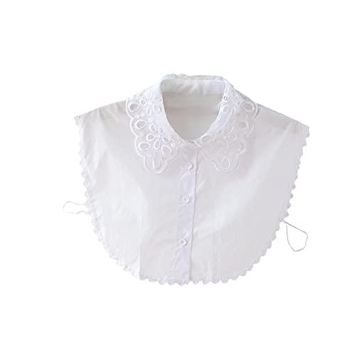 Cuello falso del encaje Elegante Cuello de encaje estilo simple blusa desmontable media camisa para niñas y mujeres blanco