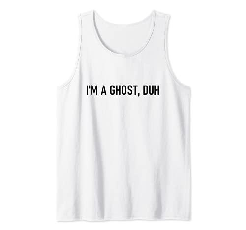 Disfraz divertido de Halloween de ltima hora con texto en ingls 'I'm A Ghost Duh Camiseta sin Mangas