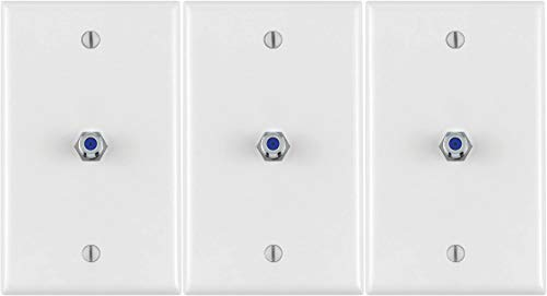 40539-MW Midsize Video Wall Jack, F Connector, White - 3 Pack