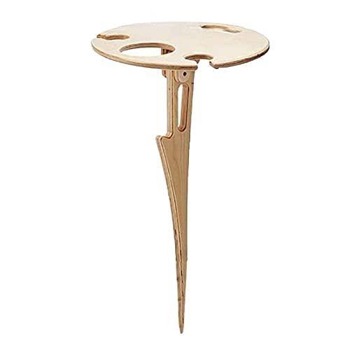 Tavolo da vino pieghevole per esterni, tavolo da picnic portatile facile da trasportare Mini portabicchieri da vino rotondo in legno da tavolo per viaggi in campeggio (legno)