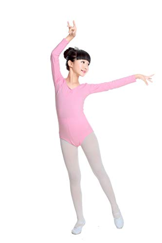 DoGeek Ballett Body Trikot barn kvinnor balettdräkt träningsdräkt flicka gymnastikdräkt kortärmat (90–165 cm) Pink-Long 7XL-(155-165cm)
